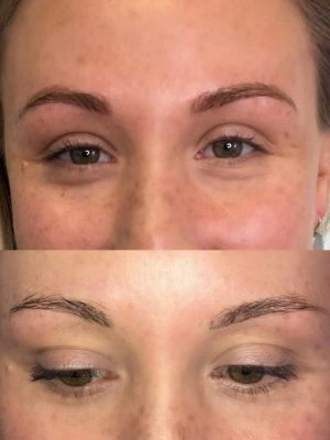 Before and after microblading close up