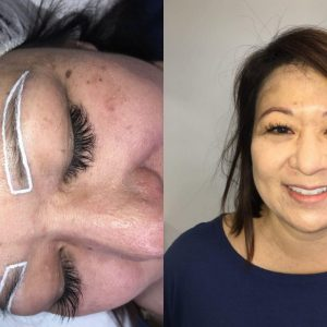 Microblading before and after measurement and straight on comparison.