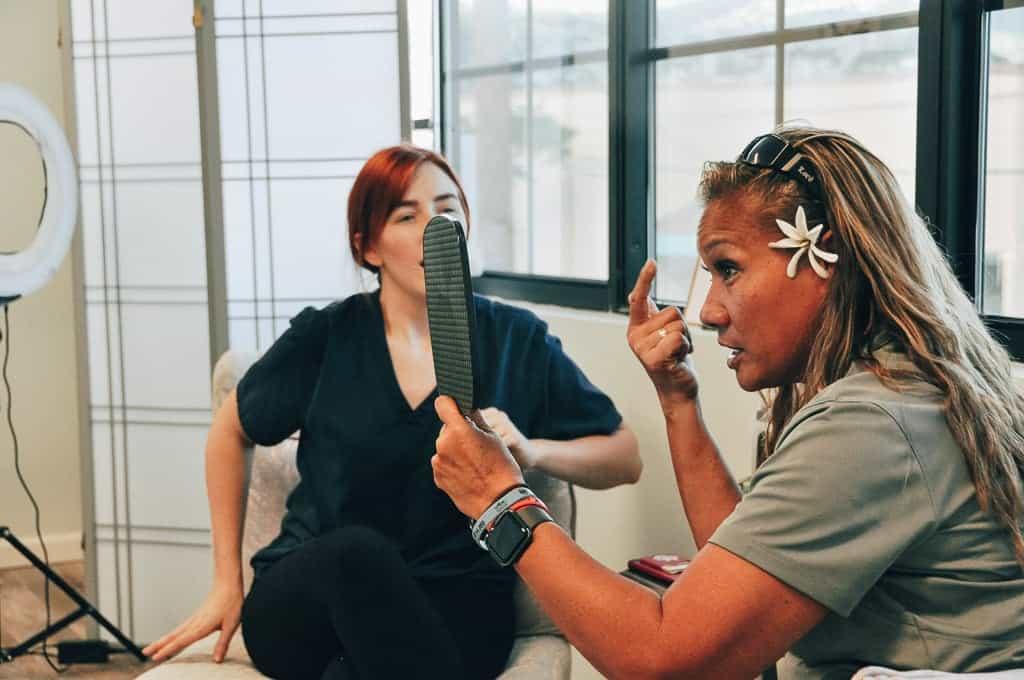 Eyebrow consult before microblading procedure.