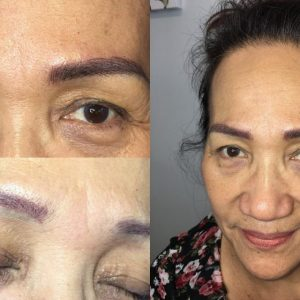 Old eyebrow tattoo coverup with microblading after round two.