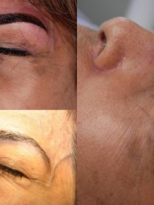 Ombre/combination brows before and after round three.